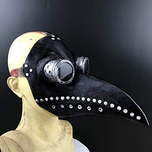 Achort Maschera del Medico della Peste, Halloween Maschera dei Dottore Maschera di Carnevale Cosplay - Maschera Steampunk Becco di Uccello(Nero)