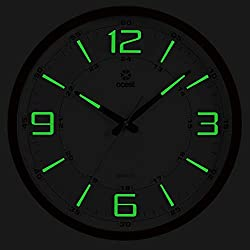 OCEST Night Light Wall Clocks, 14 Inches Non-Ticking Silent Large Display Battery Operated 12/24 Hour Quality Quartz Decorative Clock for Kitchen Bedroom Office School (Wood Grain)