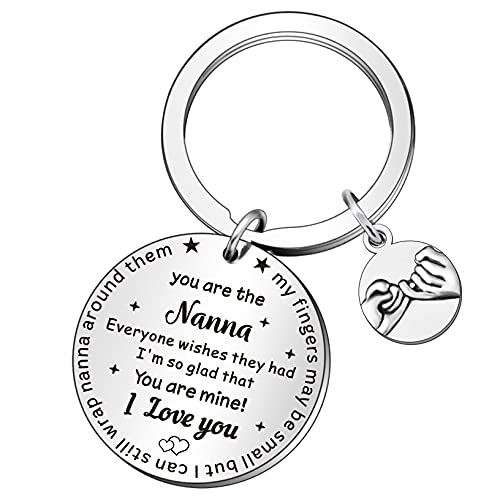 QMVMV Nanna Gifts Keyring from Grandchildren Stainless Steel Key Ring Key Chain for Women Birthday Christmas Present