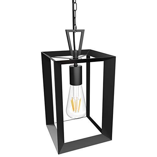 Klighten Lámpara Colgante Cuadrado Vintage, E27 Luz Colgante Industrial de Hierro Negro, Iluminación Colgante para Salón, Comedor, Cocina, Porche, 18 x 18 x 28 cm, Bombilla no Incluida
