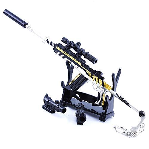 QIDUDZ Miniatura 1/4 escala MINI14 rifle de francotirador de metal modelo de arma llavero mochila colgante Cosplay accesorios regalo para niños cumpleaños