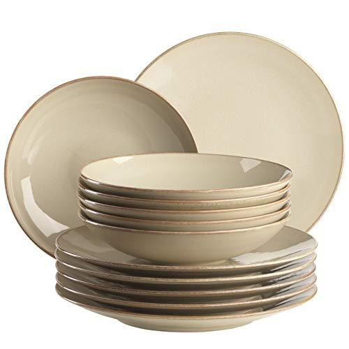 MÄSER Ossia 931734 - Servizio da tavola per 6 persone in stile mediterraneo vintage, 12 pezzi con piatti fondi e piatti fondi in ceramica grigia