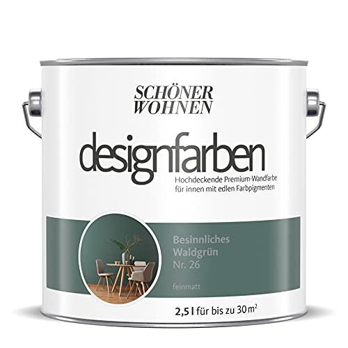 Schöner Wohnen designfarben feinmatte Wandfarbe für innen 2,5 Liter mit go/on Rollen-Set 5-tlg (Nr 26 Besinnliches Waldgrün)