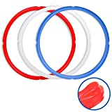 Sealing Rings for Instant Pot Accessories of 6 Qt Models - Red, Blue and Clear, Sweet and Savory Edition - 3 Pack BPA-Free Food-grade Replacement Silicone Seal Gaskets for Instpot 6 Quart