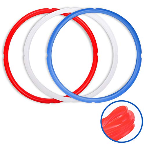 Sealing Rings for Instant Pot 6 Qt Models - Red, Blue and Clear, Sweet and Savory Edition - 3 Pack BPA-Free Food-grade Extra Silicone Seal Gaskets for Instpot 6 Quart