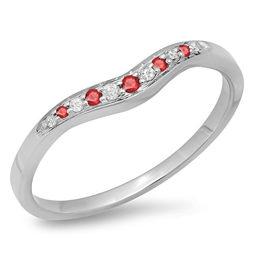 Dazzlingrock Collection 14K Round Cut Ruby & White Diamond Wedding Stackable Contour Guard Band, White Gold, Size 7.5