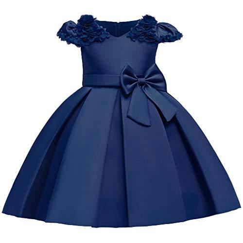 Heetey Vestido de niña con flores de princesa, dama de honor, fiesta de cumpleaños, vestido de novia, sin mangas, con tutú bordado, vestido de princesa con flores C_Rosa 120 cm