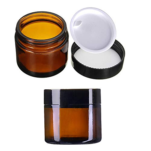 2 Stück 50ml Cremedose Leer KingYH Amber Glas Flasche Leere Nachfüllbare Behälter Braunen Glasbehälter mit Deckel und Liner Transparent Tiegel für Kosmetik Cremes Lotionen ätherische Öle Pulver