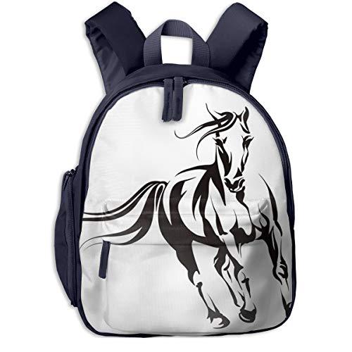 Kinderrucksack Kleinkind Jungen Mädchen Kindergartentasche Mustang Running Pferdekopf Backpack Schultasche Rucksack
