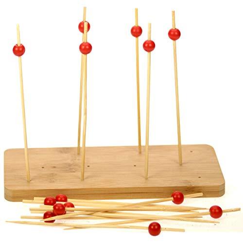 Promobo - Planche A Découper Dégustation Tapas Avec 15 Piques Bambou