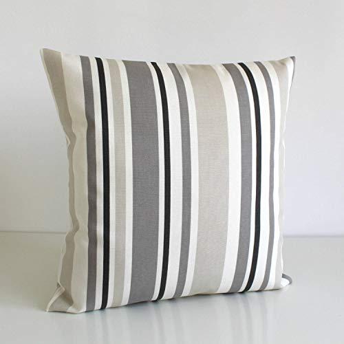 Lplpol Funda de cojín de lona a rayas, funda de cojín a rayas, funda de almohada de almohada, funda de almohada de código de barras gris topo, 45,7 x 45,7 cm para sala de estar, sofá y cama