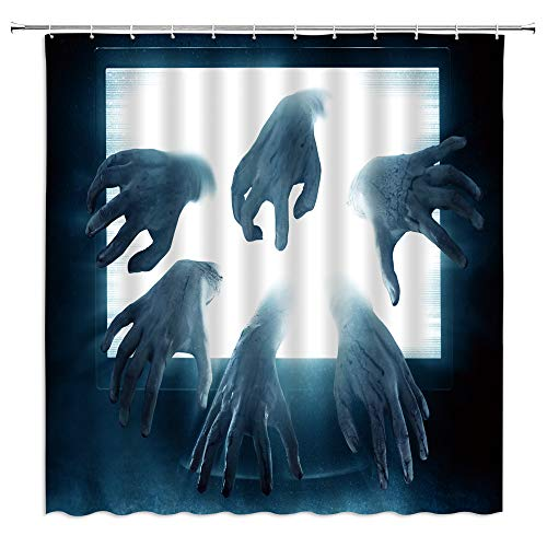 Spooky Shower Curtain Horror Bloody Zombie Terrible Hands The Walking Death Scary Halloween Image Fabric Bathroom Decor…