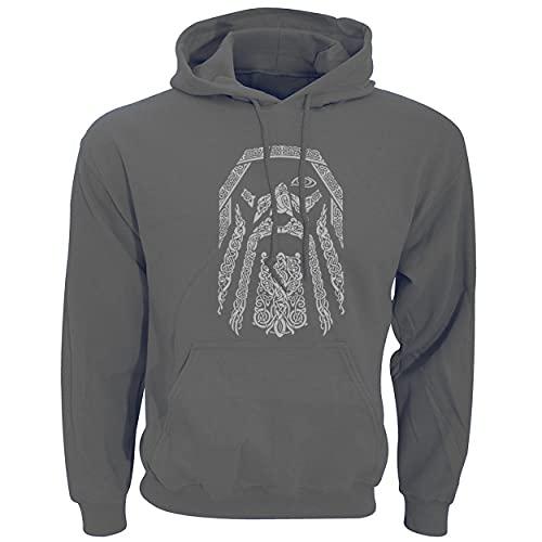 XBOMEN Sudadera con Capucha de Novedad de los Hombres, impresión del Tatuaje 3D Odin Celtic Pullover Chaqueta con Capucha Sudadera con Bolsillo (Color : Gray, Size : L)