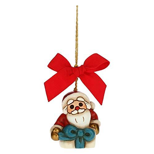 THUN - Addobbo per Albero di Natale, Babbo Natale nel Pacchetto Regalo - Decorazioni Natale Casa - Formato Piccolo - Ceramica - 4,6 x 3,5 x 5 h cm