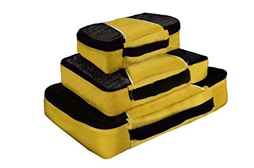 Vinsani® Lot de 3 cubes d'emballage respirants pour voyage et vacances, jaune (Jaune) - 0006426