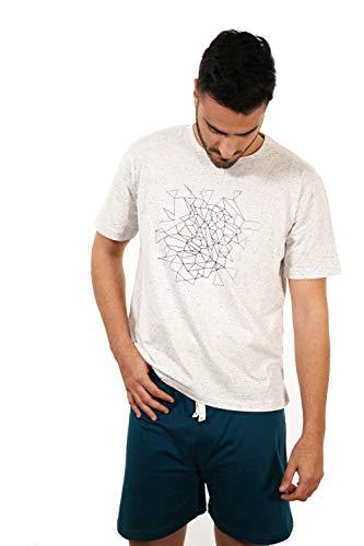 Babelo Homewear - Pijama de Hombre de Verano – Pijama de Hombre 100% algodón étnico - Pijama de Hombre de Verano Corto Punto algodón – Color Blanco y Turquesa – Moda Homewear (S)