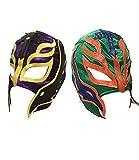 GB 2 (Dos) Aleatorios Color Rey Mysterio Lucha Libre Halloween Carnaval Cosplay Cosplay Cabeza Completa Máscara - Talla Universal Cremallera Wwe