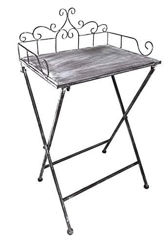 Beistelltisch Klapptisch aus Metall - Tisch für den Garten Blumenhocker Balkontisch- klappbar - Höhe 73 cm