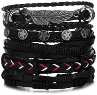 Bracelet for Men. Leather Hand-knitted Multi-layer/Men's Bracelet 5pcs