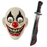 Lucleag Halloween Costume Horror Mask with Bloody Machete for Halloween Party, Halloween Cosplay Mask Machete Accessory for Adults Kids Party Supplies