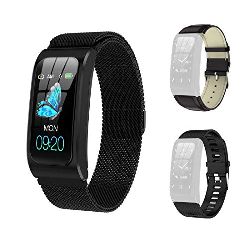GideaTech Smart Watch with IP67 Waterproof,Fitness Tracker Watch with Pedometer Heart Rate, Blood Pressure Monitor Sleep Tracker,with Two Replacement Bands,Black
