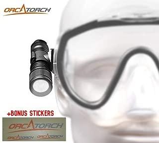 ORCATORCH D560 Mini Scuba Diving Light Includes Rotating Mask Clip, O-Rings, Battery plus BONUS Cooler Stickers Latest Model Underwater Flashlight
