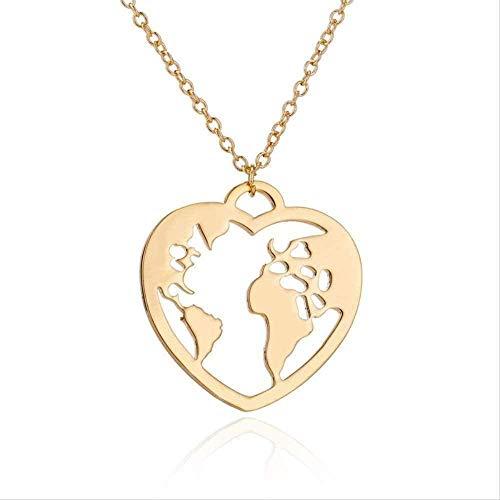 WYDSFWL Collar Origami Wanderlust Mapa del Mundo en corazón Collar Joyas de Acero Inoxidable Mapa Amor Collares con Colgante Viaje Tierra Collar Collar