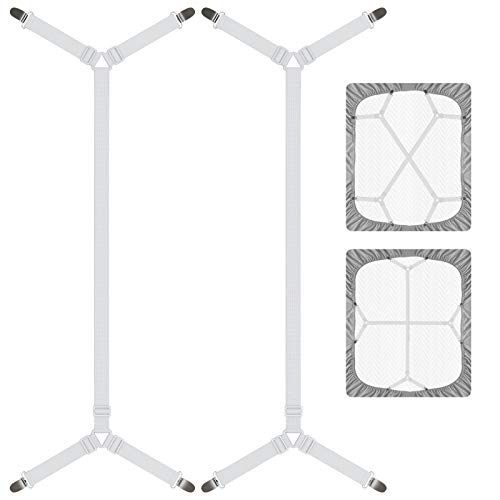 DORPU Sheet Straps Elastic Fastener Bed Sheet Holder Band with Harmless Buckle Clips Design (2 Belts with 8 Clips), White