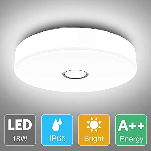 Onforu 18W LED Deckenleuchte Badezimmer, IP65 Wasserdicht Deckenlampe, 1600lm 5000K Kaltweiß Küchenlampe, CRI über 90 Badezimmerlampe, Decke Badlampe Lampe für Küche, Schlafzimmer, Wohnzimmer, Bad