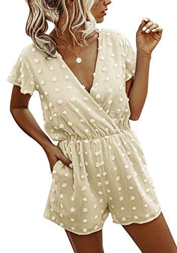 BTFBM Women Fashion Wrap V-Neck Swiss Dot Print Short Sleeve Elastic Waist Plain Summer Pockets Shorts Jumpsuit Romper (Apricot, Medium)
