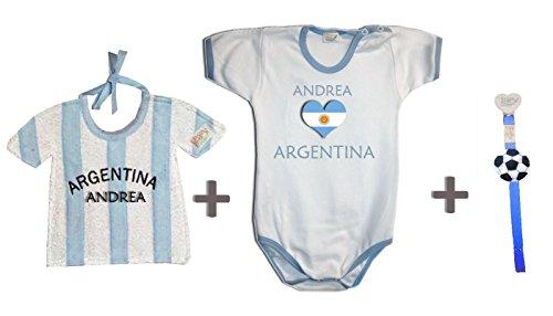 Zigozago - Championnat du monde ARGENTINE personnalisé Set composé par bavoir + Body + Attache' Tetine