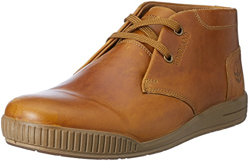 Woodland Men's Dark Camel Leather Sneakers - 7 UK/India (41 EU)