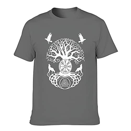 Camiseta de algodón para hombre con diseño del árbol de la vida vikingo Mythos, cuello redondo Gris oscuro. XXXL