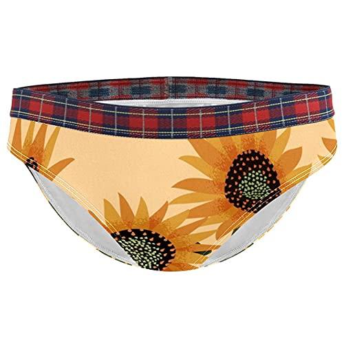 Ropa interior de mujer Niñas Stretch Panty Bikini señora calzoncillos S Vintage Girasol Flores Patrón, Multicolor, L