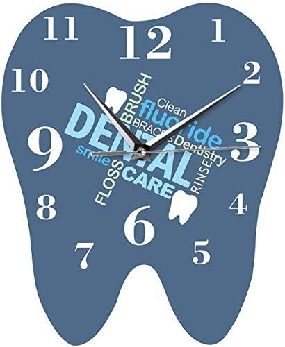 quanjiafu Wanduhr Wall Clock Dental Ornament Printing 3D Acrylic Wall Clock Timelike Creative Tooth-Shaped Modern Dental Words Surgeon Silent Easy to Read