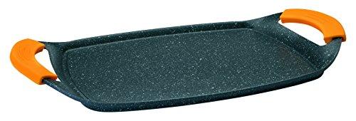 Ibili 409523- Grill Plancha Basic Stone, Aluminio negro, 47 x 28 x 4 cm