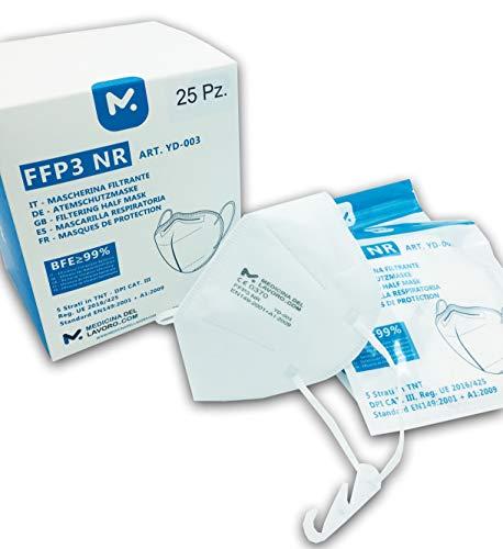 25 FFP3 Mund- und Nasenschutz Maske mit EC Zertifizierung, 5 lagige Maske ohne Ventil, Staub- und Partikelschutzmaske, medizinische Schutzmaske mit hoher BFE-Filtereffizienz ≥ 98, 25 Stück