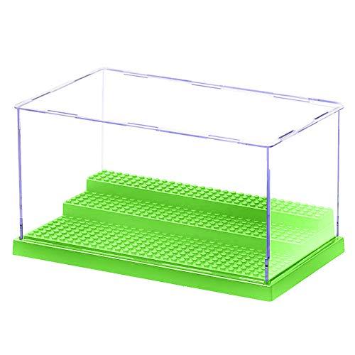 MIMIEYES Acryl Schaukasten Vitrine (10 x 5.7 x 5.3 Inches) Perspex Staubbeweis Show Fall Base für Minifiguren Ziegelstein-Block (Grün)