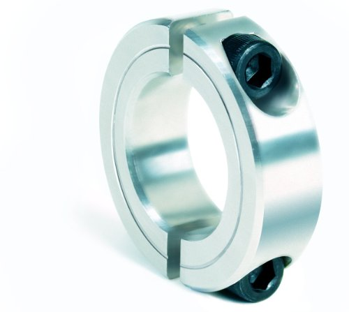 """Climax Metal 2C-100-A Aluminum Two-Piece Clamping Collar, 1"""" Bore Size, 1-3/4"""" OD, With 1/4-28 x 5/8 Set Screw"""