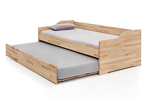 Woodlive Massivholz-Gästebett aus Kernbuche, ausziehbares Doppel-Bett, als Jugend- & Kinderbett verwendbar, Funktionsbett aus Holz, Bett 90 x 200 cm