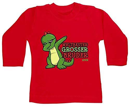 HARIZ Camiseta de manga larga para bebé con texto en alemán 'Bester World's Grosser Grosser Dab, cumpleaños, hermano bebé, incluye tarjeta de regalo de bomberos, rojo, 3-6 meses