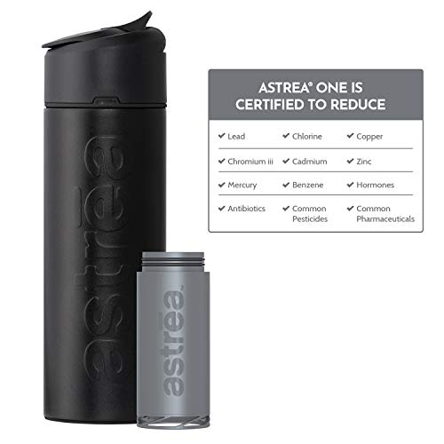 astrea ONE Premium Stainless Steel Filtering Water Bottle, 20 Oz, Meets NSF/ANSI Standards 42, 53, and 401, Independently Certified, (New & Improved) (Black/Black)