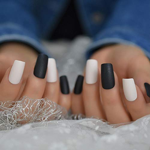 TJJF Off White False Nails Black Matte Square Ladies Press On Manucure Tips Artificial Long Nail Tip With Glue Sticker 48 Ct