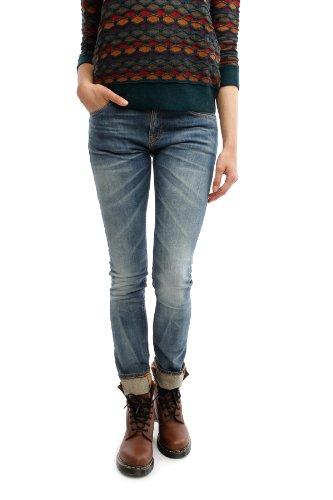 Nudie Jeans Damen Slim Fit Tube Tom Org. Sang Bleu (30/32, hellblau)