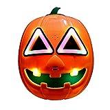 Yibidys Máscara de Calabaza de Halloween Encender Máscara de Calabaza,Divertida máscara de Disfraces para Halloween, Navidad, Acción de Gracias, Carnival Crazy Festival Party