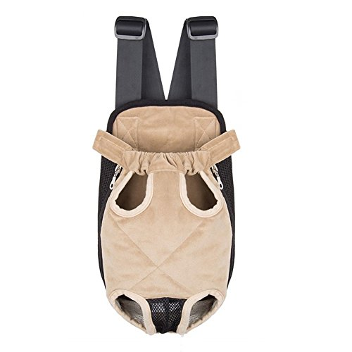 Ultrafun Portable Dog Front Carrier Backpack Legs Out & Breathable Travel Outdoor Bag for Pet Puppy Cat (L, Beige)