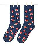 Roits Calcetines Sandías Azul Mujer 36-40 - Calcetines Divertidos de Dibujos Originales Estampados