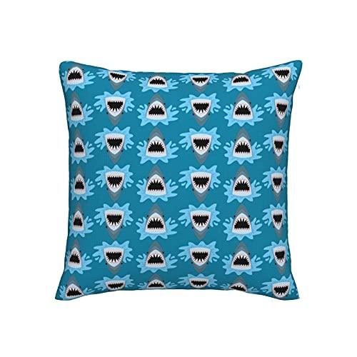 Fundas de almohada decorativas de 45,7 x 45,7 cm, fundas de almohada de imitación de lino para sofá, cama, silla, coche, bonito patrón de tiburón de verano en azul