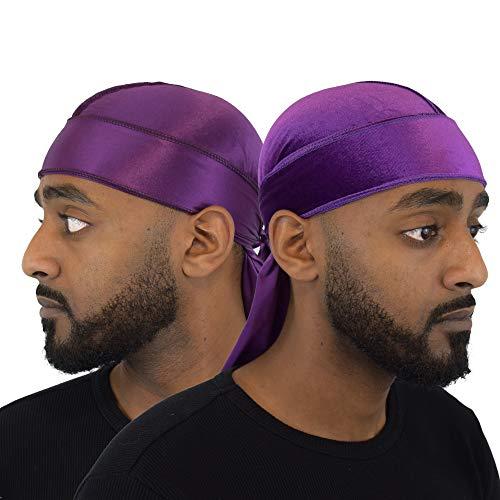 Wayvee Crowns 2Pack Premium Durags For Men Waves | 1 Velvet Durag | 1 Silk Durag (Purple)