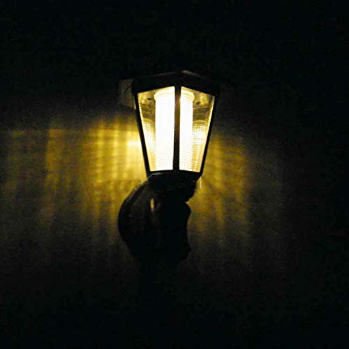 Chenjia Lámpara solar Hexagonal montada en la pared Aplique de pared con luz solar Luces de seguridad Jardín Vallado Lámpara hexagonal (Luz cálida luz blanca) (Color : Warm light)